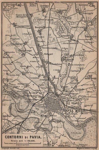 Associate Product PAVIA environs contorni. San Genesio Borgarello. Italy mappa. BAEDEKER 1895
