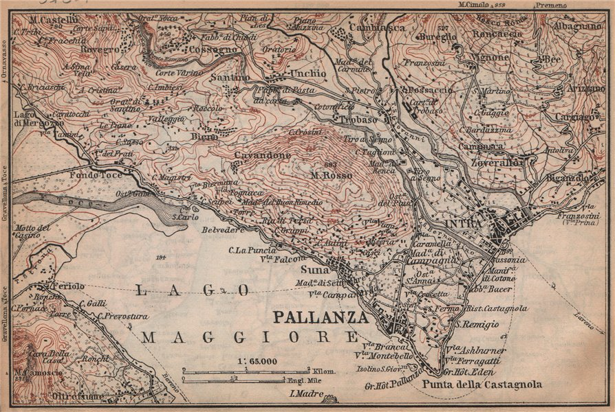 Associate Product PALLANZA ENVIRONS. Verbania. Intra Unchio. Italy mappa. BAEDEKER 1895 old