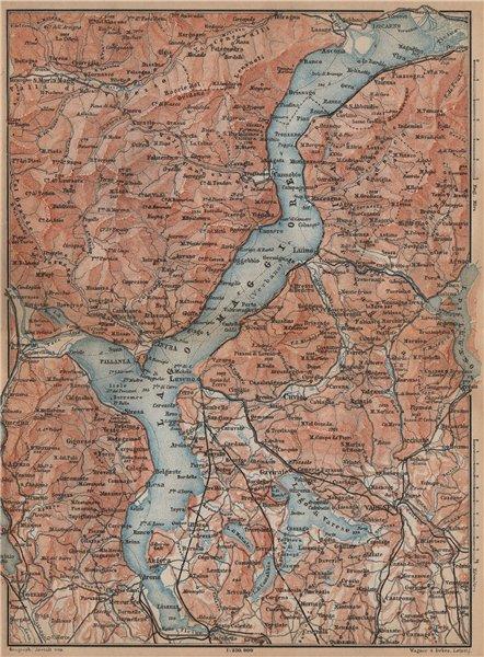 Associate Product LAGO/LAKE MAGGIORE & LAGO/LAKE D'ORTA Varese Pallanza topo-map. Italy 1895