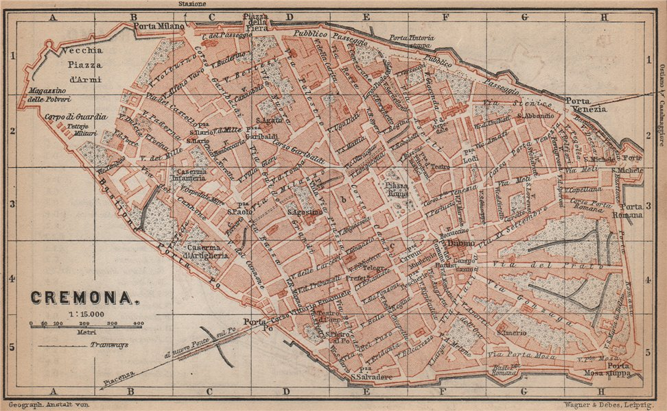 Associate Product CREMONA antique town city plan piano urbanistico. Italy mappa 1895 old