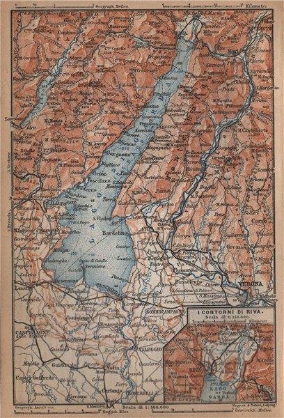 Associate Product LAGO DI/LAKE GUARDA. Riva environs contorni. Topo-map. Italy mappa 1895