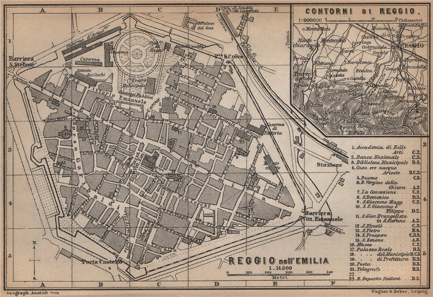 Associate Product REGGIO NELL'EMILIA town city plan & environs/contorni. Italy mappa 1895