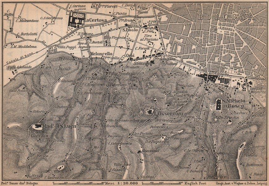 Associate Product BOLOGNA environs. Certosa. Madonna di San Luca. Santo Michele in Bosco 1895 map