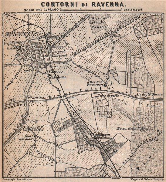 RAVENNA environs contorni. Ponte Nuovo. Italy mappa. BAEDEKER. SMALL 1895