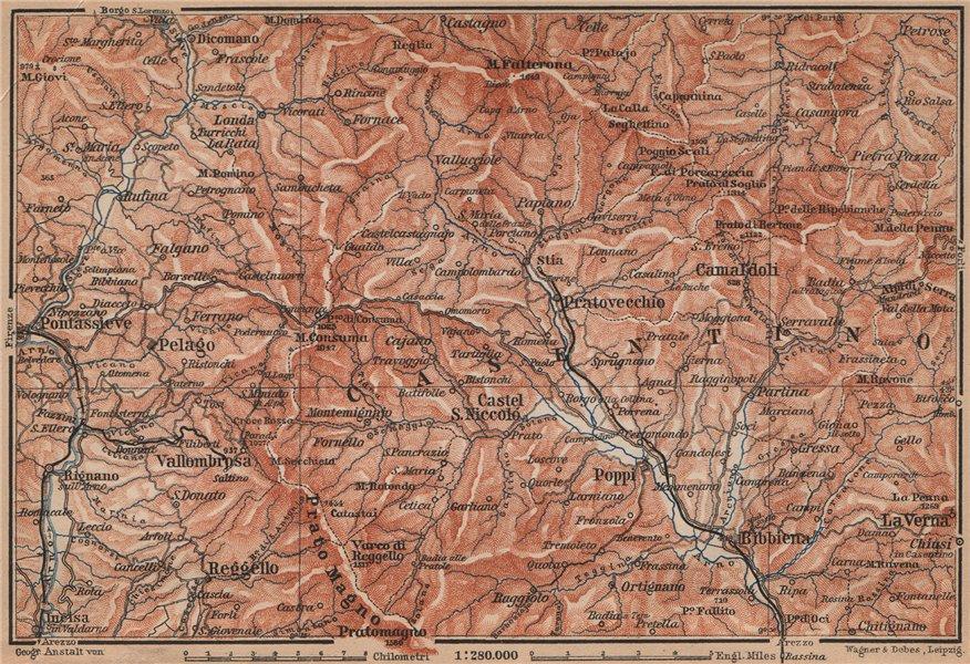Associate Product VALLOMBROSA & CAMALDOLI environs. Reggello Casentino. Topo-map. Italy 1895