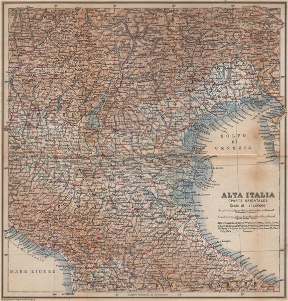 Associate Product ALTA ITALIA (PARTE ORIENTALE). North East Italy mappa. BAEDEKER 1895 old