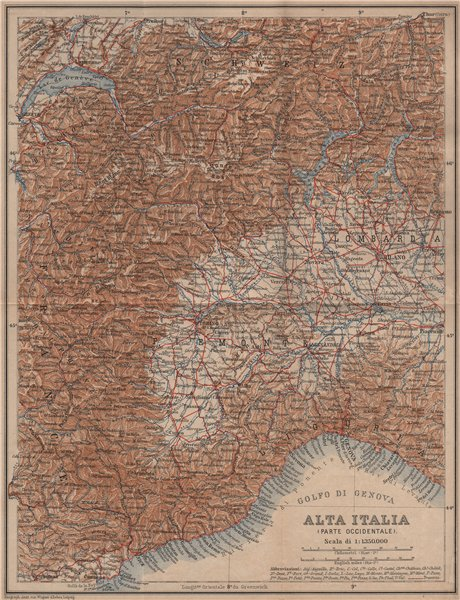 Associate Product ALTA ITALIA (PARTE OCCIDENTALE). North-west Italy mappa. BAEDEKER 1899 old