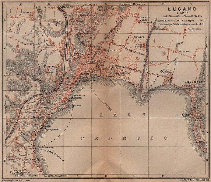 Associate Product LUGANO antique town city stadtplan. Switzerland carte karte. BAEDEKER 1899 map
