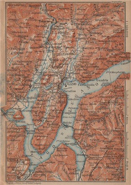 Associate Product LAKE/Lago di LUGANO topo-map. Switzerland Italy Italia carte karte 1899