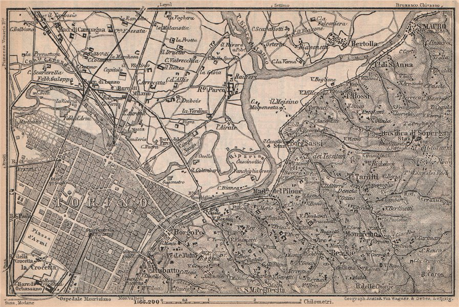 Associate Product TURIN TORINO eastern environs. Italy mappa. BAEDEKER 1899 old antique