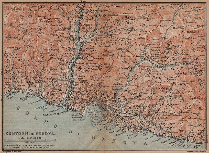 Associate Product GENOVA GENOA environs. Sestri Ponente Nervi Pontedecimo. Italy mappa 1899