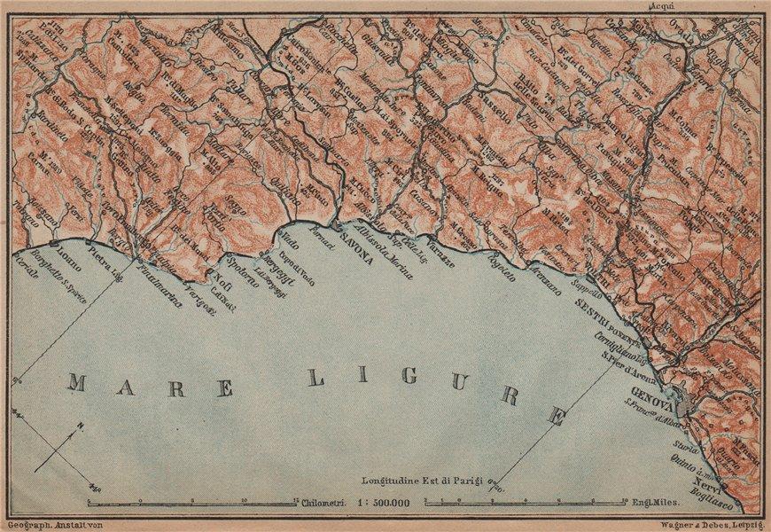 Associate Product RIVIERA DI PONENTE. Genoa Genova-Arenzano-Varazze-Savona-Loana. Italy 1899 map