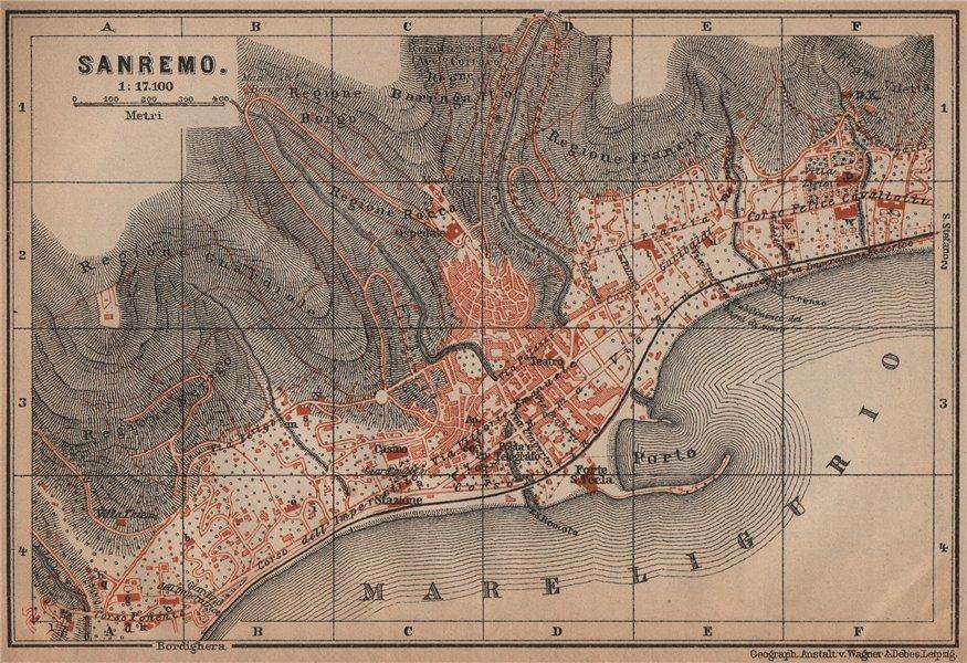 Associate Product SANREMO town city plan piano urbanistico. San Remo. Italy mappa 1899 old