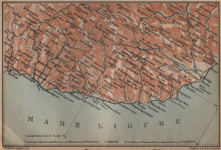 Associate Product RIVIERA DI PONENTE. Menton-Ventimiglia-Sanremo-Imperia-Albenga. Italy 1899 map