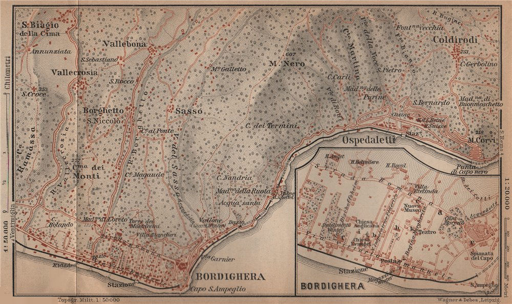 Associate Product BORDIGHERA antique town city plan & environs. Ospedaletti. Italy mappa 1899