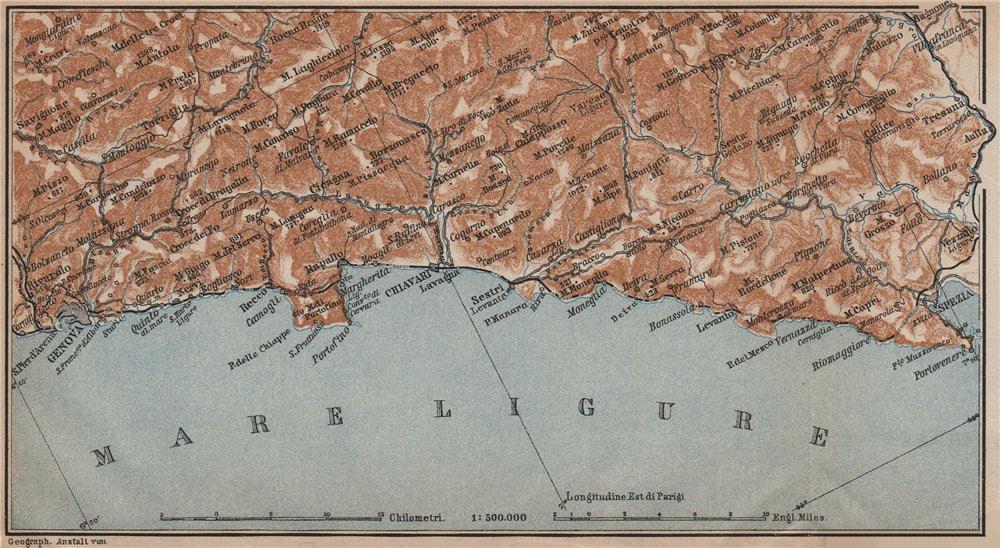 Associate Product RIVIERA DI LEVANTE. Genoa Genova-Portofino-Rapallo-Chiavari-La Spezia 1899 map