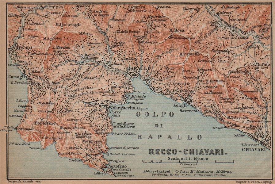 Associate Product GOLFO DI RAPALLO Portofino Camogli Chiavari S. Margherita Ligure Italy 1899 map