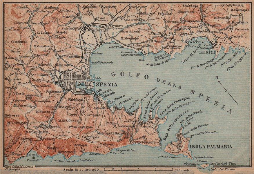 GOLFO DELLA SPEZIA. La Spezia environs. Lerici isola Palmaria. Italy 1899 map