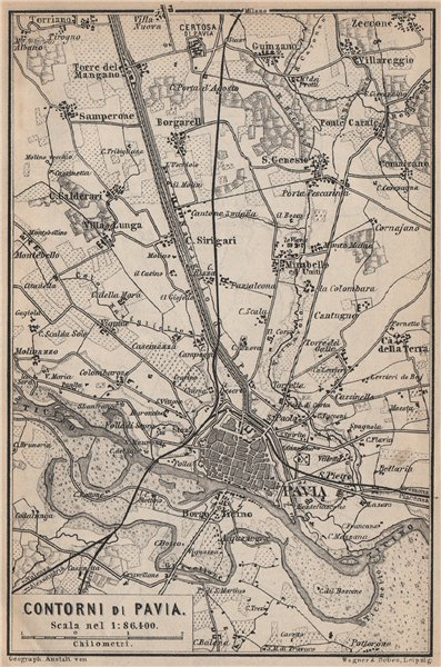 Associate Product PAVIA environs contorni. San Genesio Borgarello. Italy mappa. BAEDEKER 1899