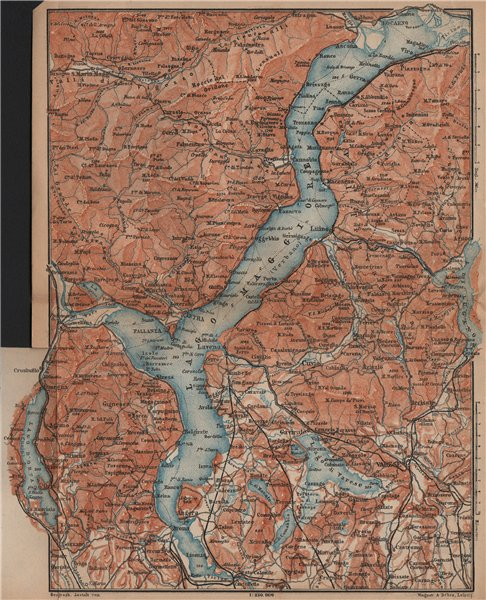 Associate Product LAGO/LAKE MAGGIORE & LAGO/LAKE D'ORTA Varese Pallanza topo-map. Italy 1899
