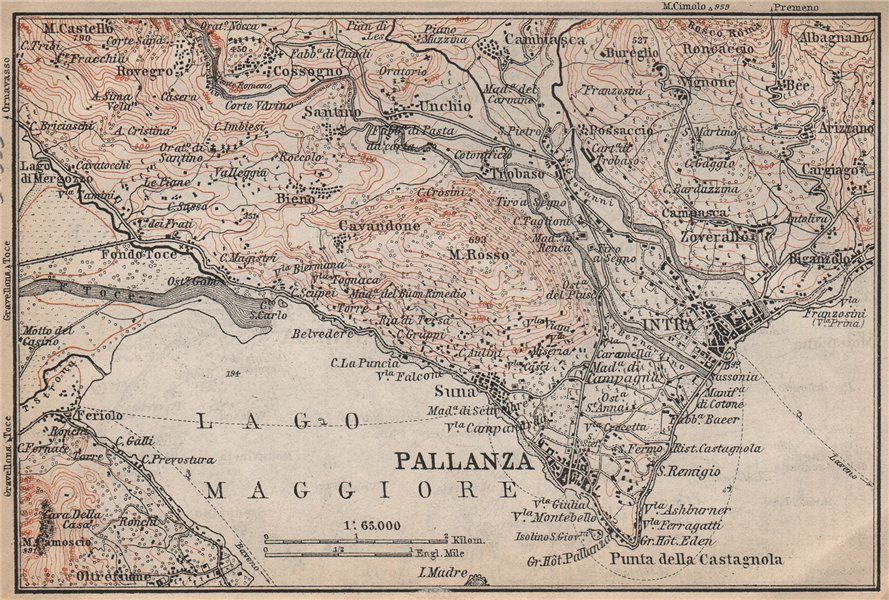 Associate Product PALLANZA ENVIRONS. Verbania. Intra Unchio. Italy mappa. BAEDEKER 1899 old