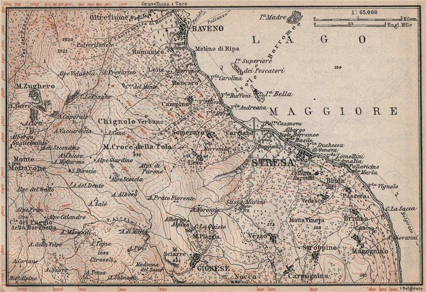 Associate Product SESTRA environs. Baveno Gignese. Lago Maggiore. Italy mappa. BAEDEKER 1899