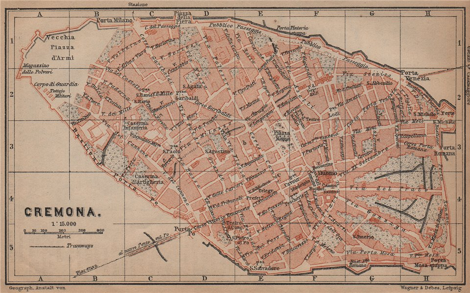 Associate Product CREMONA antique town city plan piano urbanistico. Italy mappa 1899 old