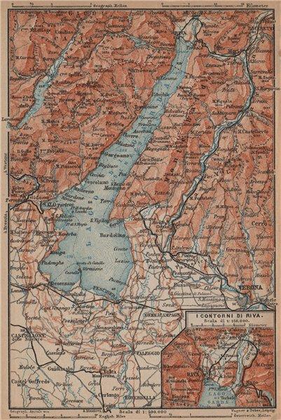 Associate Product LAGO DI/LAKE GUARDA. Riva environs contorni. Topo-map. Italy mappa 1899