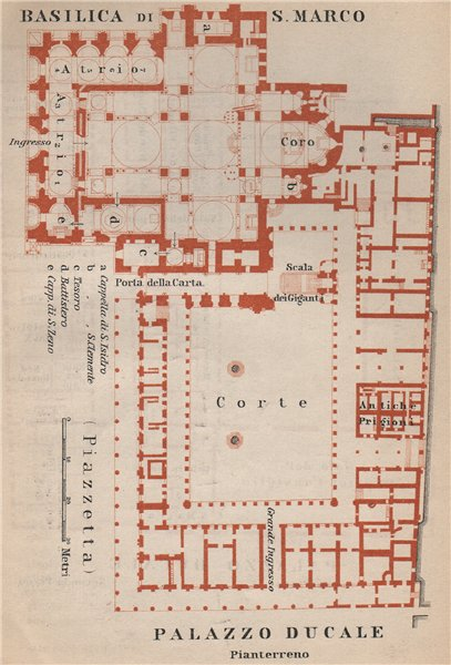 Associate Product St Mark's BASILICA SAN MARCO. PALAZZO DUCALE Doge's palace plan Venice 1899 map