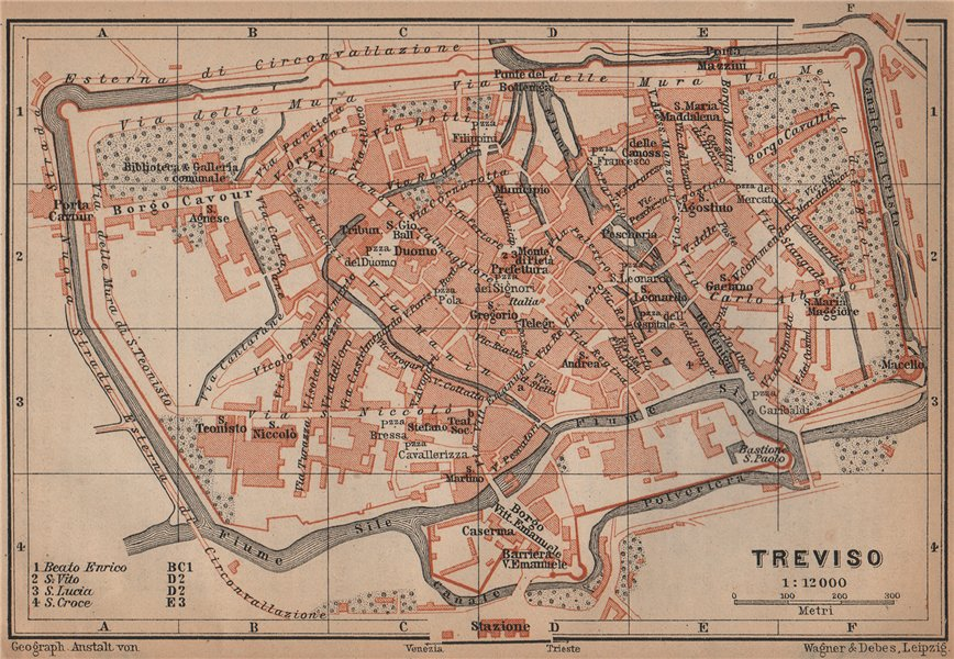 Associate Product TREVISO antique town city plan piano urbanistico. Italy mappa 1899 old