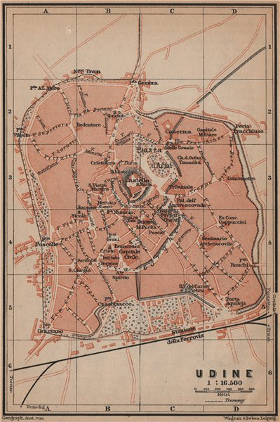 Associate Product UDINE antique town city plan piano urbanistico. Italy mappa. BAEDEKER 1899