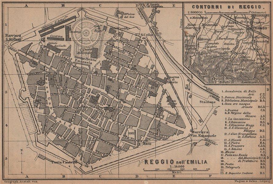 REGGIO NELL'EMILIA town city plan & environs/contorni. Italy mappa 1899
