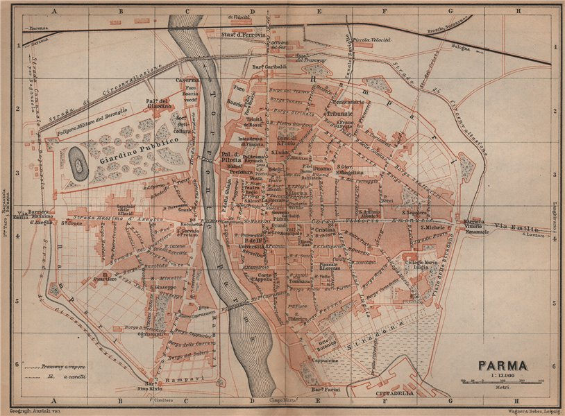 Associate Product PARMA antique town city plan piano urbanistico. Italy mappa. BAEDEKER 1899