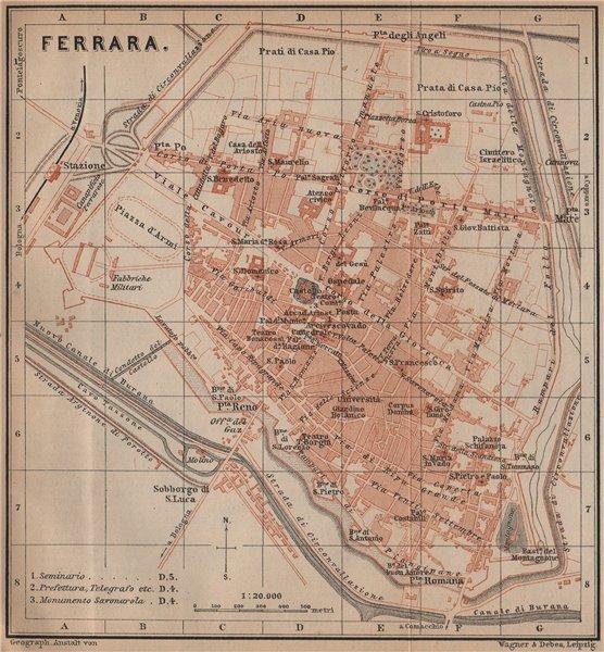 Associate Product FERRARA antique town city plan piano urbanistico. Italy mappa 1899 old