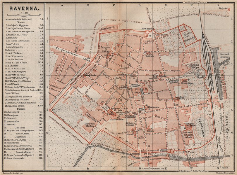 Associate Product RAVENNA antique town city plan piano urbanistico. Italy mappa 1899 old