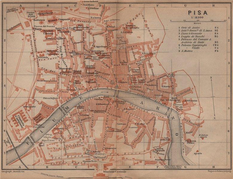 Associate Product PISA antique town city plan piano urbanistico. Italy mappa. BAEDEKER 1899