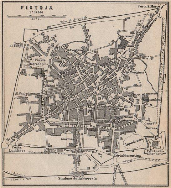 Associate Product PISTOIA antique town city plan piano urbanistico. Italy mappa. SMALL 1899