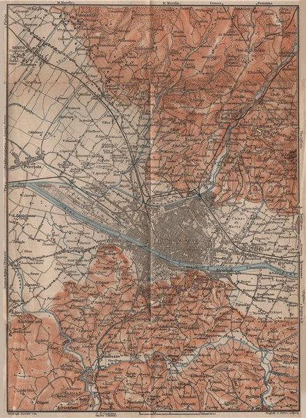 Associate Product FLORENCE FIRENZE environs. Galluzzo Fiesole. Italy mappa. BAEDEKER 1899