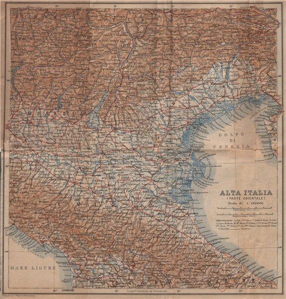 Associate Product ALTA ITALIA (PARTE ORIENTALE). North East Italy mappa. BAEDEKER 1899 old