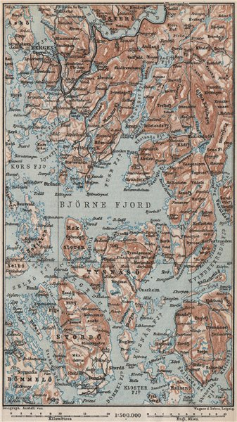 OUTER HARDANGERFJORD topo-map. Bergen Stordo. Norway kart. BAEDEKER 1885