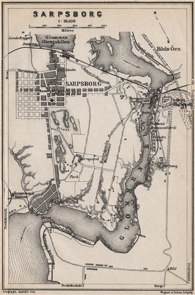Associate Product SARPSBORG antique town city byplan. Norway kart. BAEDEKER 1885 old map