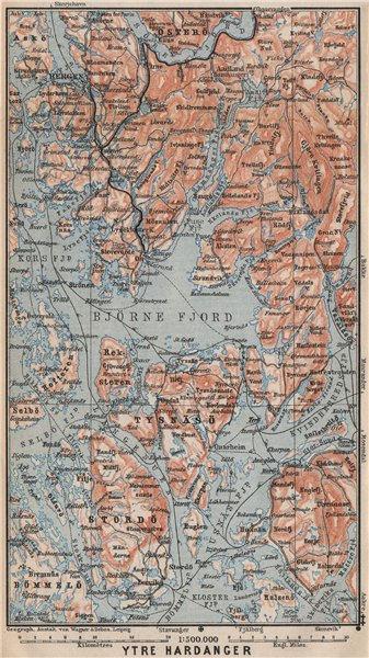 Associate Product OUTER HARDANGERFJORD topo-map. Bergen Stordo. Norway kart. BAEDEKER 1899