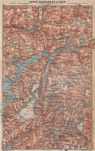 Associate Product INNER HARDANGERFJORD topo-map. Folgefonna. Norway kart. BAEDEKER 1899 old