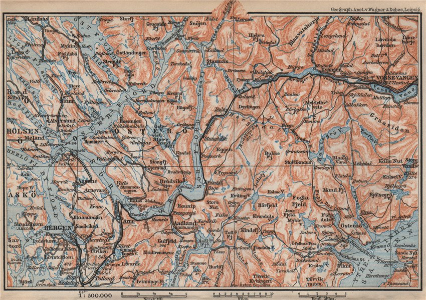 Associate Product BERGEN-VOSSVANGEN.Sørfjorden. Topo-map. Norway kart. BAEDEKER 1899 old
