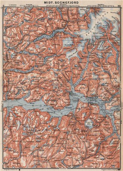 Associate Product CENTRAL SOGNEFJORD topo-map. Leikanger Sogndal. Norway kart. BAEDEKER 1899