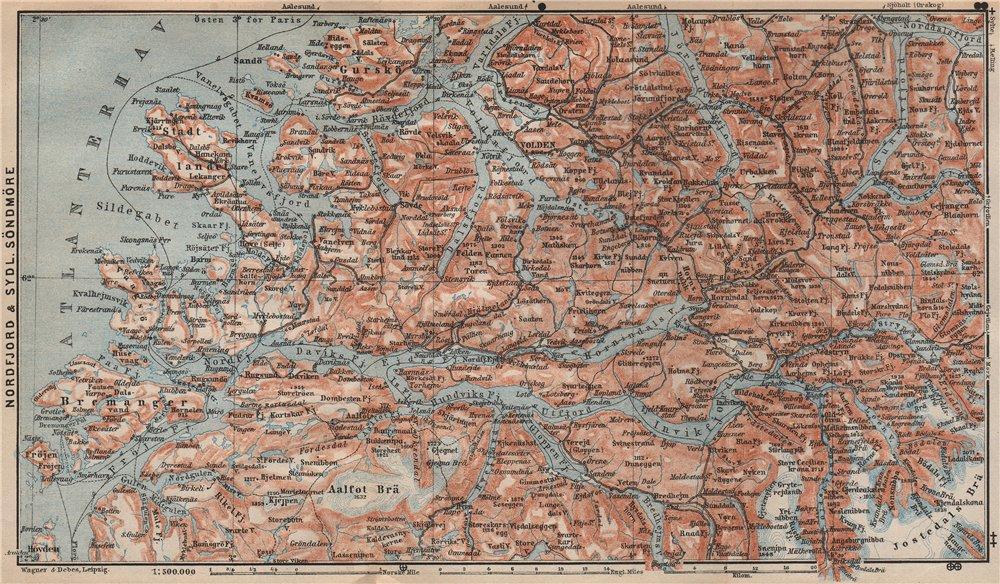 Associate Product NORDFJORD & SOUTHERN SONDMERE/Sunnmøre topo-map. Gloppen Volda. Norway 1899