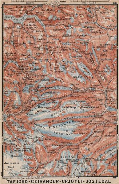 Associate Product Geiranger Polfos Tafjord Jostedal Grotli Topo-map. Norway kart 1899 old