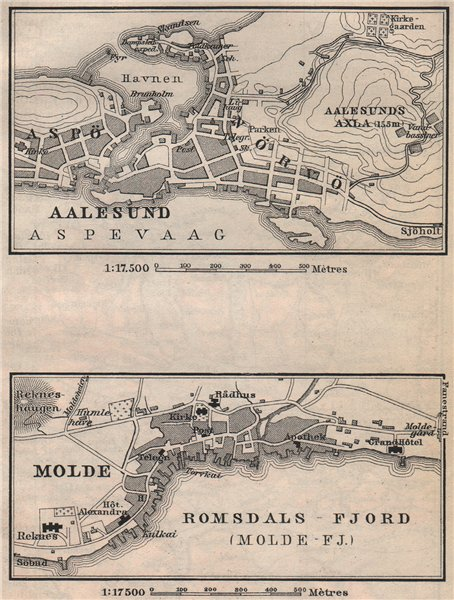 Associate Product ALESUND & MOLDE antique town city byplans. Norway kart. BAEDEKER. SMALL 1899 map