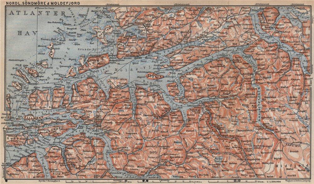 Associate Product NORTHERN SONDMERE/Sunnmøre & MOLDE FJORD. Alesund. Topo-map. Norway 1899