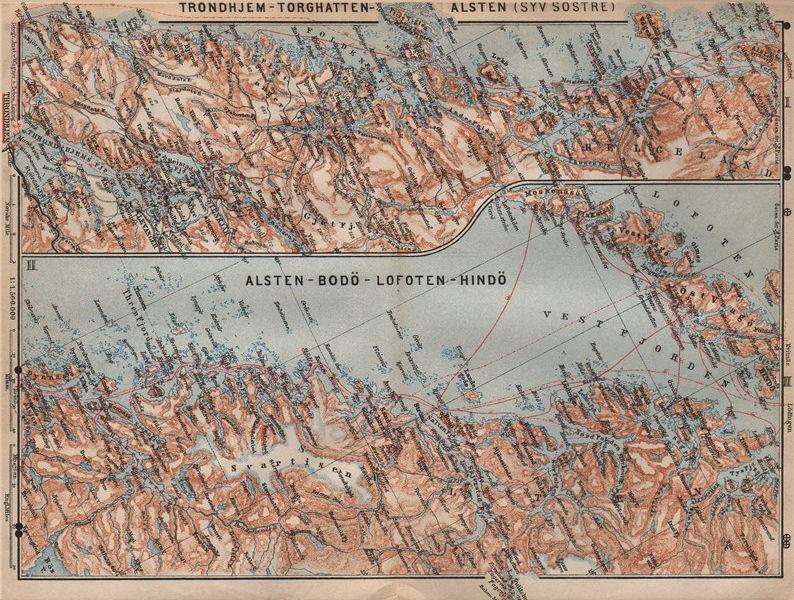 Associate Product NORWAY NORTH WEST COAST. Trondheim-Torghatten-Bodo-Lofoten kart 1899 old map
